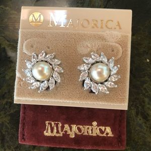 Adorable Majorica Pearl and Cubic Zirconia Earring